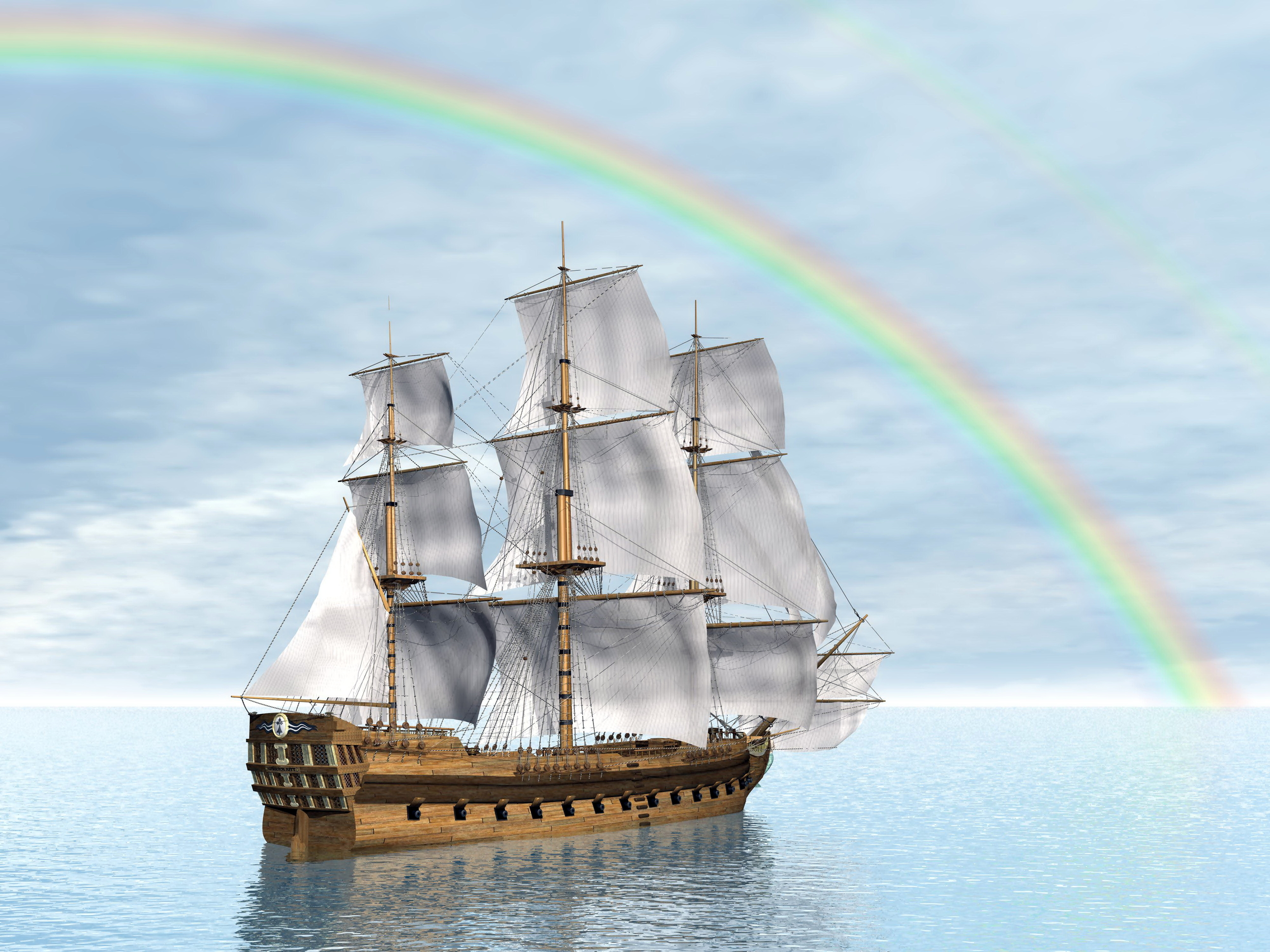 Tall Ship and Rainbow